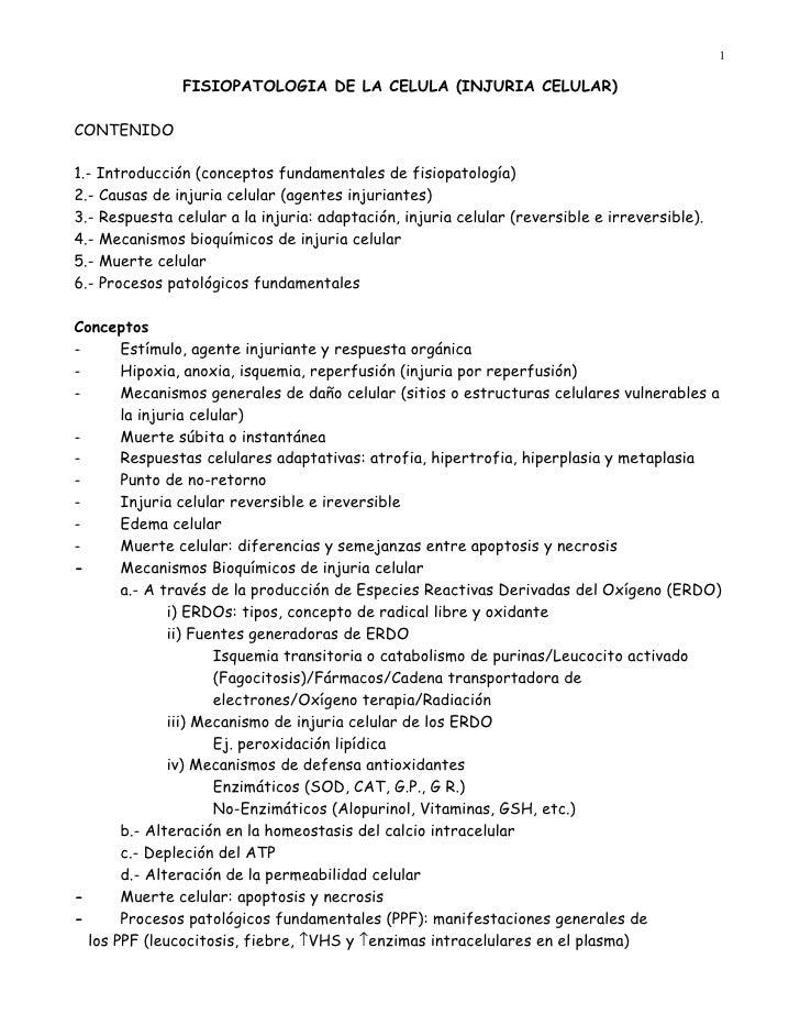 1                 FISIOPATOLOGIA DE LA CELULA (INJURIA CELULAR)  CONTENIDO  1.- Introducción (conceptos fundamentales de f...