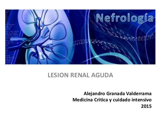 Alejandro Granada Valderrama Medicina Critica y cuidado intensivo 2015 LESION RENAL AGUDA