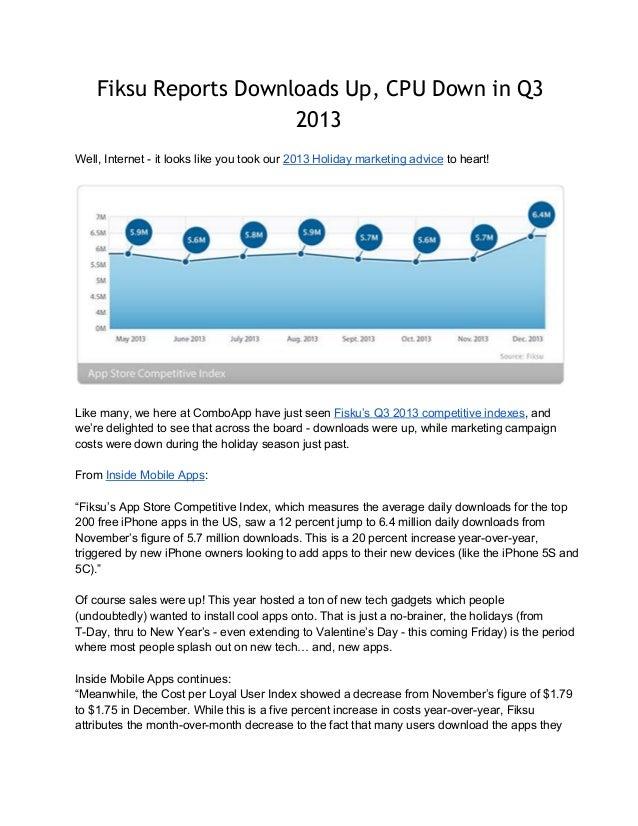 Fiksu Reports Downloads Up, CPU Down in Q3 2013 Well,Internetitlookslikeyoutookour2013Holidaymarketingadvice...
