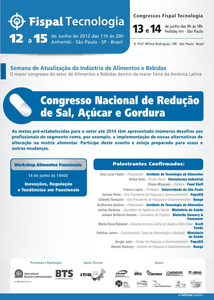 Congresso Nacional de Redução de Sal, Açúcar e Gordura