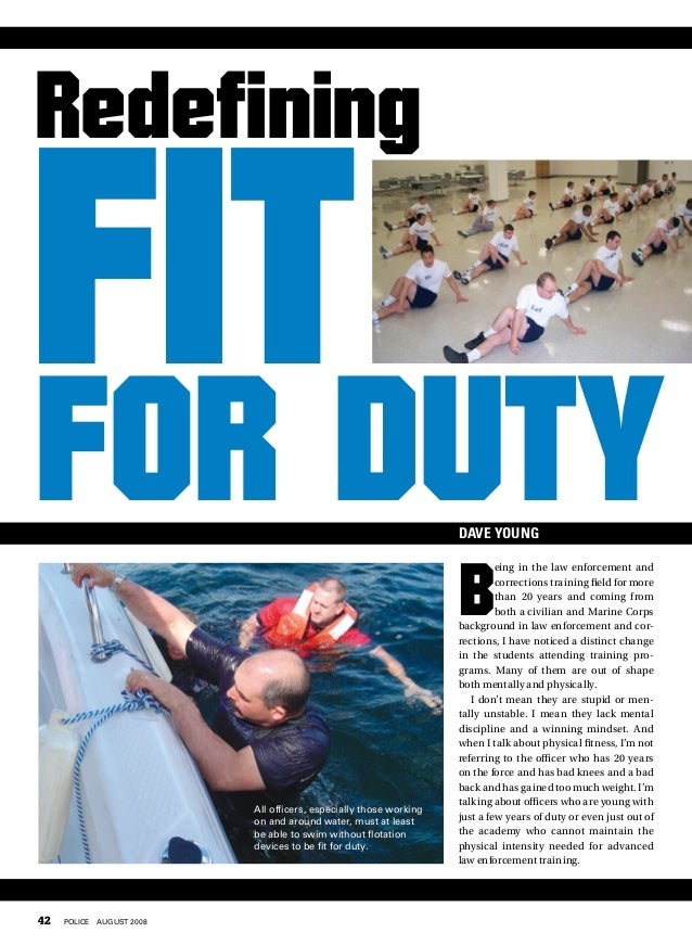 Redefining Fit for Duty