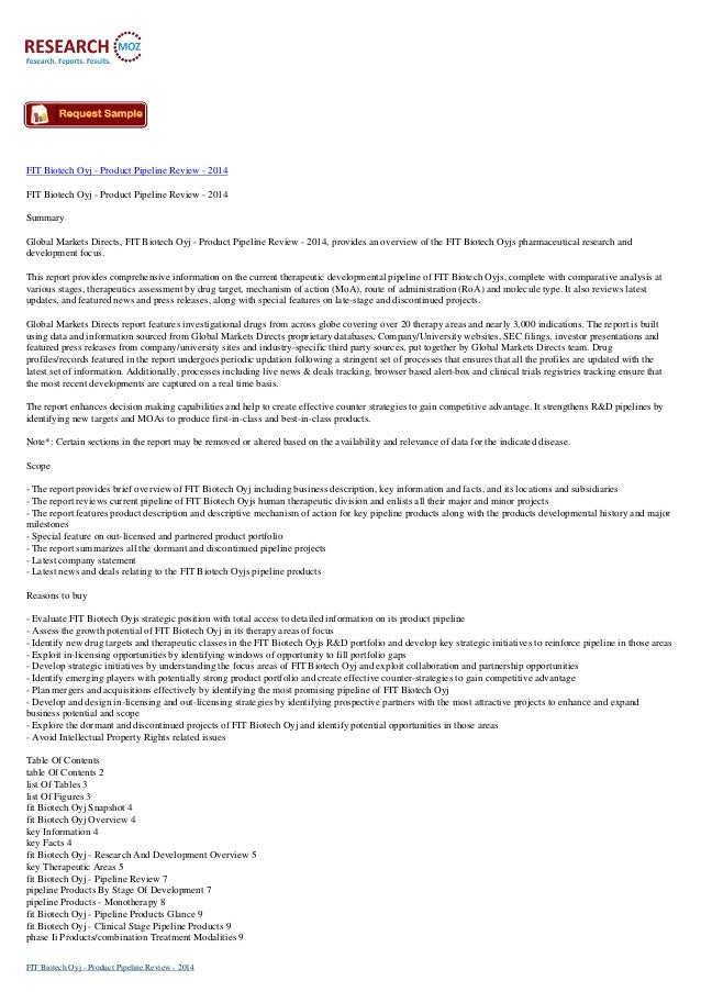 FIT Biotech Oyj - Product Pipeline Review - 2014 FIT Biotech Oyj - Product Pipeline Review - 2014 Summary Global Markets D...