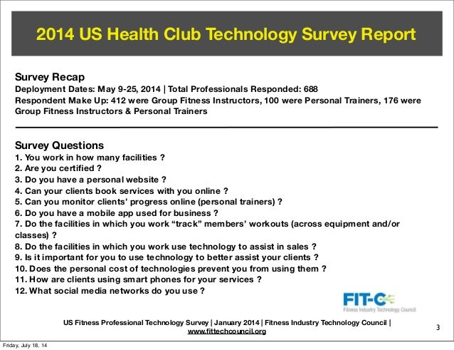 FITC 2014 Fitness Professional Technology Survey Report