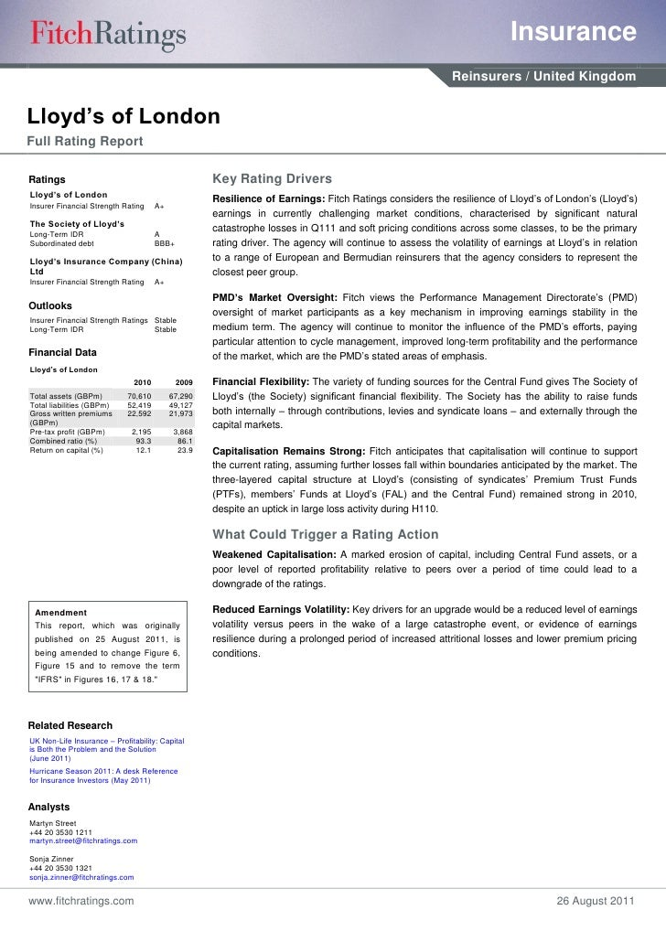 Fitch: Lloyd's report august 2011