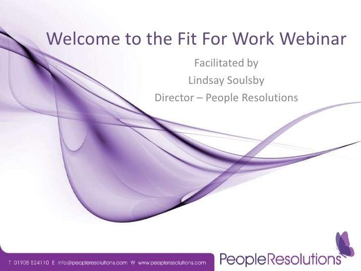 Fit for Work Webinar