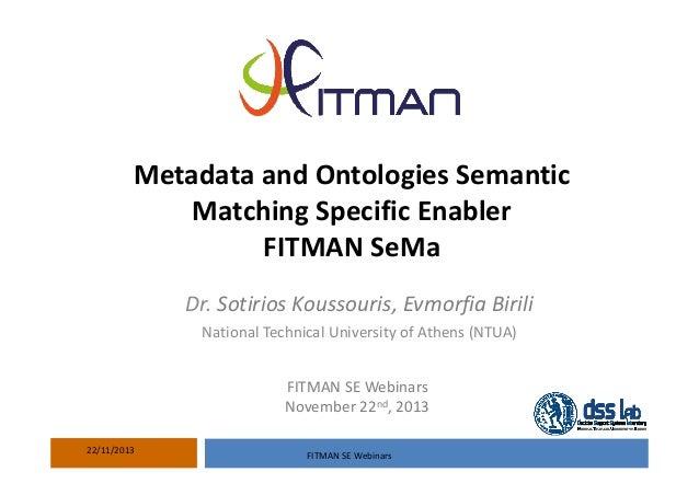 Metadata andOntologiesSemantic MatchingSpecificEnabler FITMAN SeMa Dr. Sotirios Koussouris,Evmorfia Birili National...