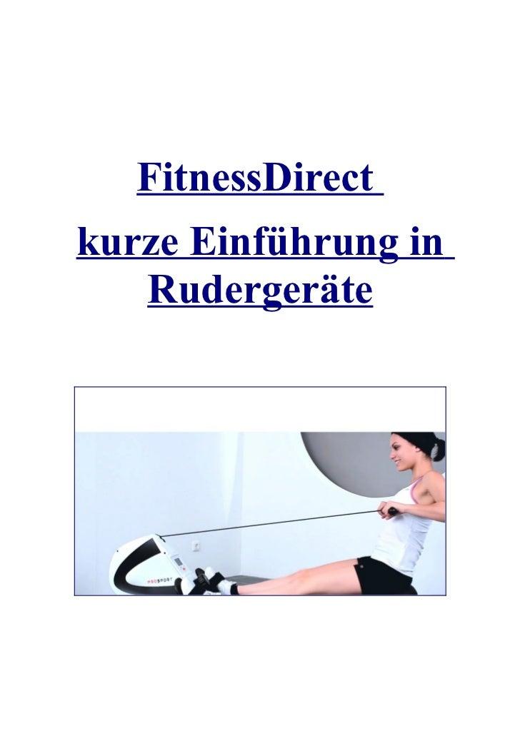 FitnessDirect kurze Einführung in Rudergeräte