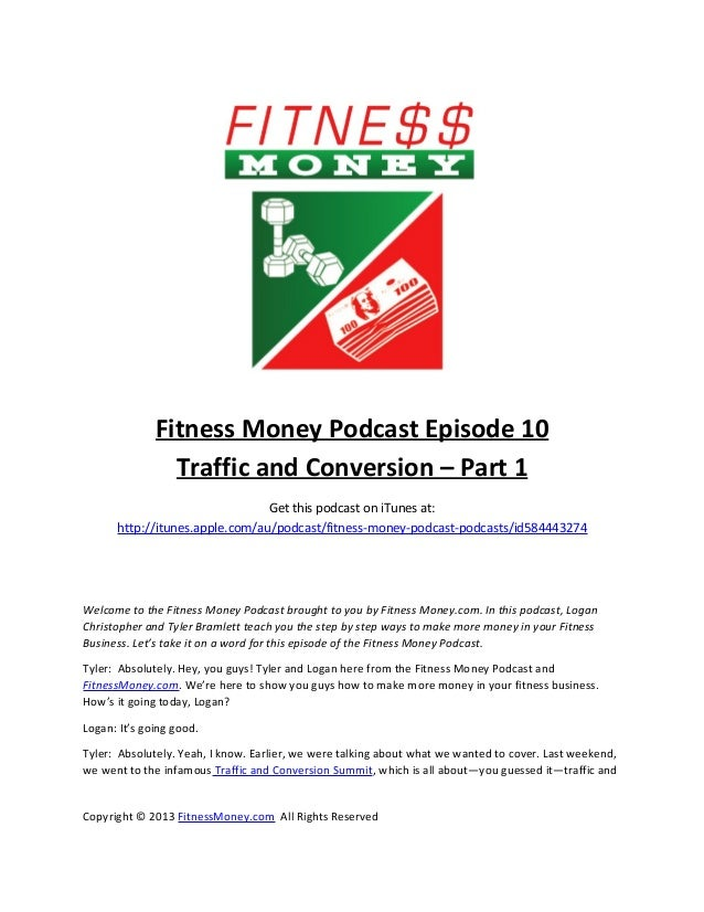Fitness Money Episode 10 - Traffic and Conversion Part 1