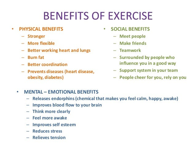 the benefits of physical exercise in a group The health benefits of physical activity   the health benefits and  effects in at-risk groups to date, there is overwhelming.