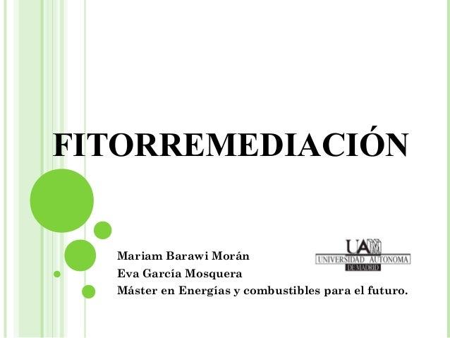 FITORREMEDIACIÓN  Mariam Barawi Morán  Eva García Mosquera  Máster en Energías y combustibles para el futuro.