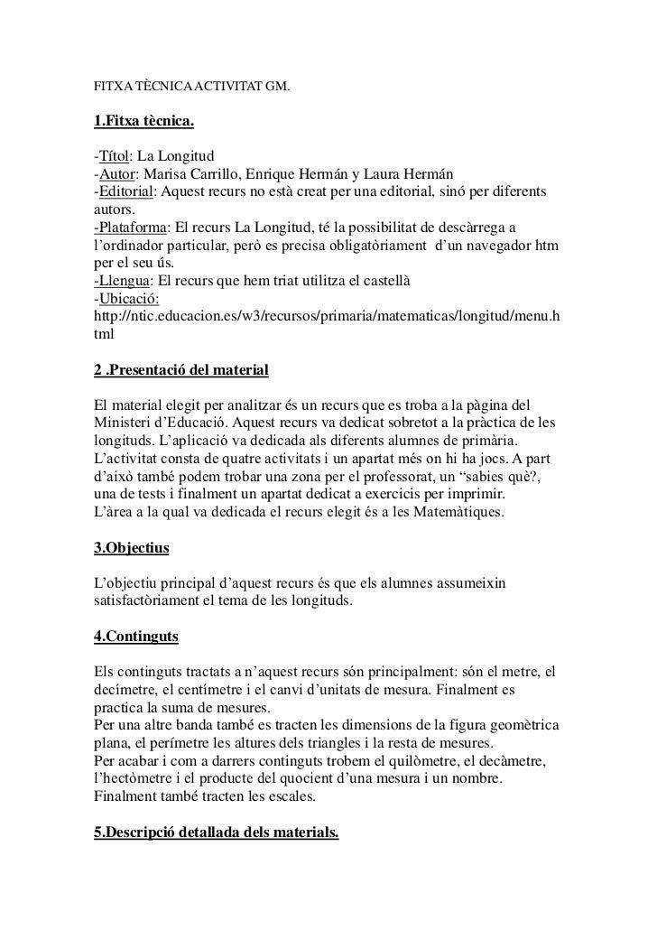 FITXA TÈCNICA ACTIVITAT GM.1.Fitxa tècnica.-Títol: La Longitud-Autor: Marisa Carrillo, Enrique Hermán y Laura Hermán-Edito...