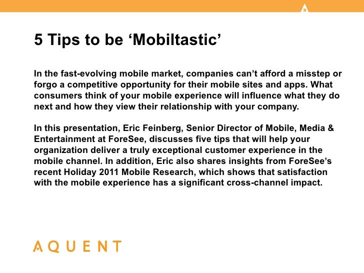 Aquent/AMA Webcast: 5 Tips to be 'Mobiltastic'