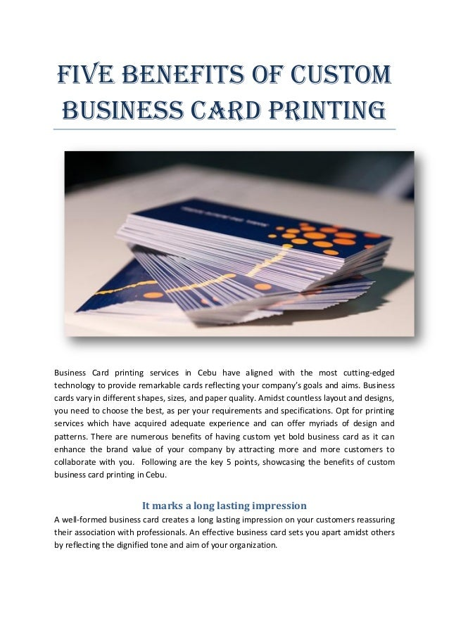 Five benefits of custom business card printing for Custom business cards printing