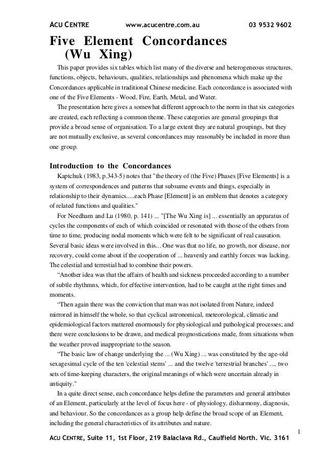 Five element concordances