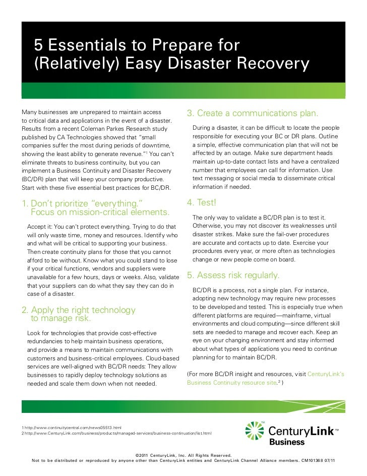 Five Essentials To Prepare For Easy Disaster Recovery Cm101368