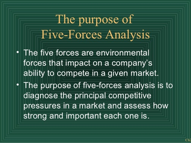 The purpose of      Five-Forces Analysis• The five forces are environmental  forces that impact on a company's  ability to...