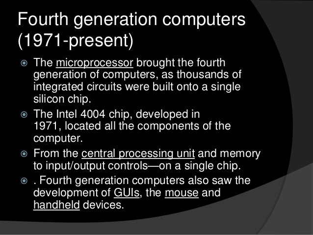 Generations of Computers Fourth Generation Computers