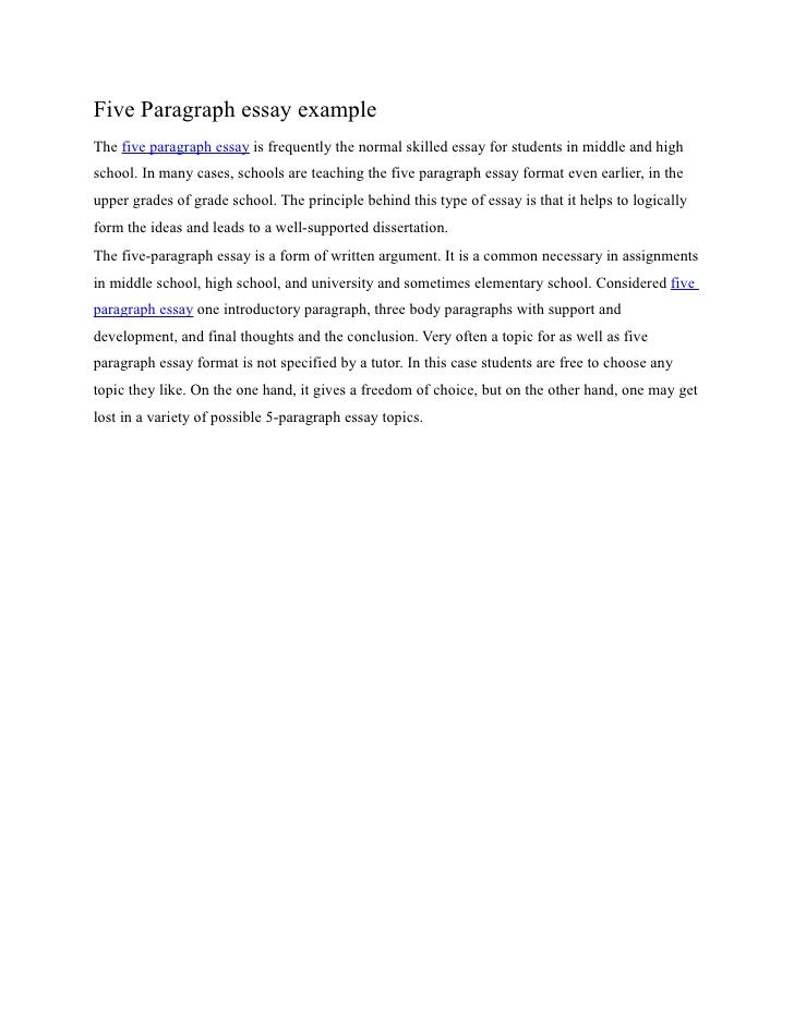 Five paragraph essay samples