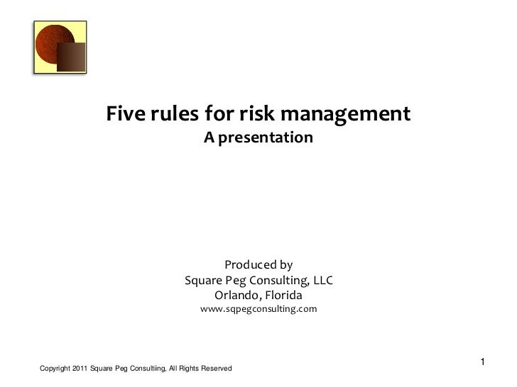 Five risk management rules for the project manager