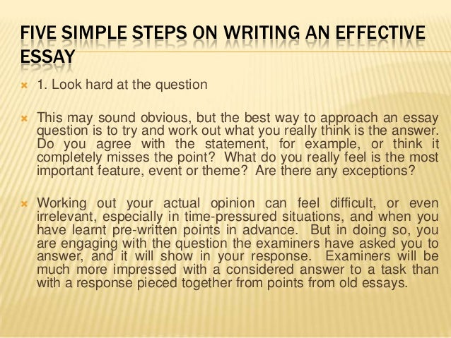 five steps for writing an essay This e-book explains how to write an essay in five easy steps this simple essay writing guide can be used by high school, college, or university students how to write an essay covers the various kinds of essays, how to quickly research your essay, and how to organize your essay so your instructor.