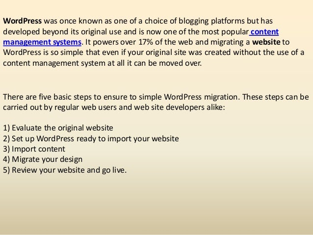 Five simple wordpress migration tips for website users