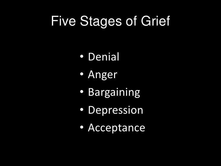 Five Stages of Grief<br />Denial<br />Anger<br />Bargaining<br />Depression<br />Acceptance<br />