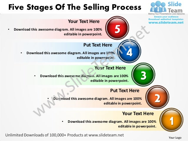 Five stages of the selling process powerpoint templates 0812