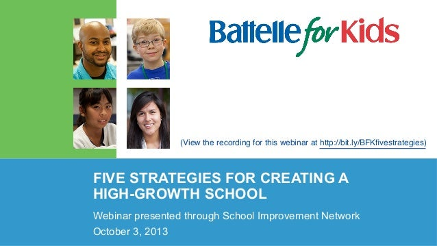 (View the recording for this webinar at http://bit.ly/BFKfivestrategies)  FIVE STRATEGIES FOR CREATING A HIGH-GROWTH SCHOOL...