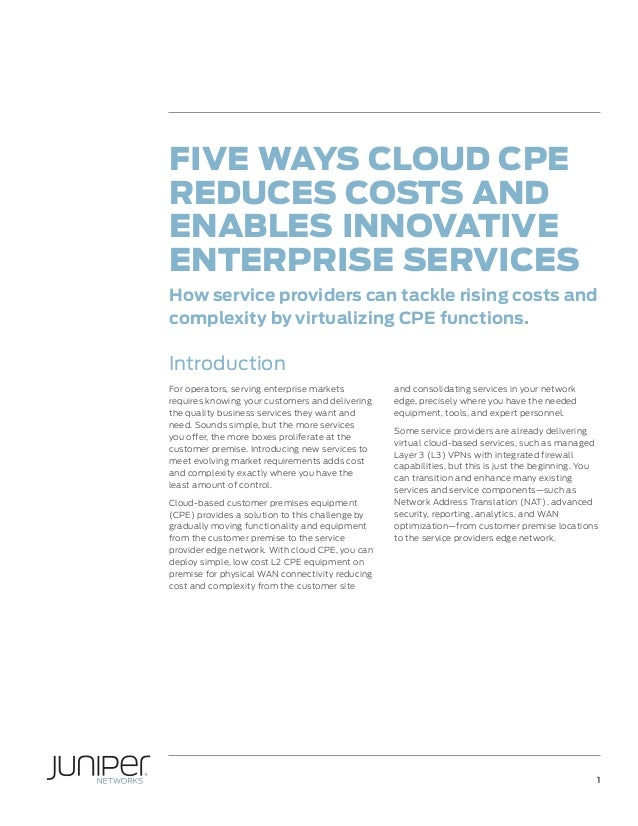 Five Ways Cloud CPE Reduces Costs and Enables Innovative Enterprise Services