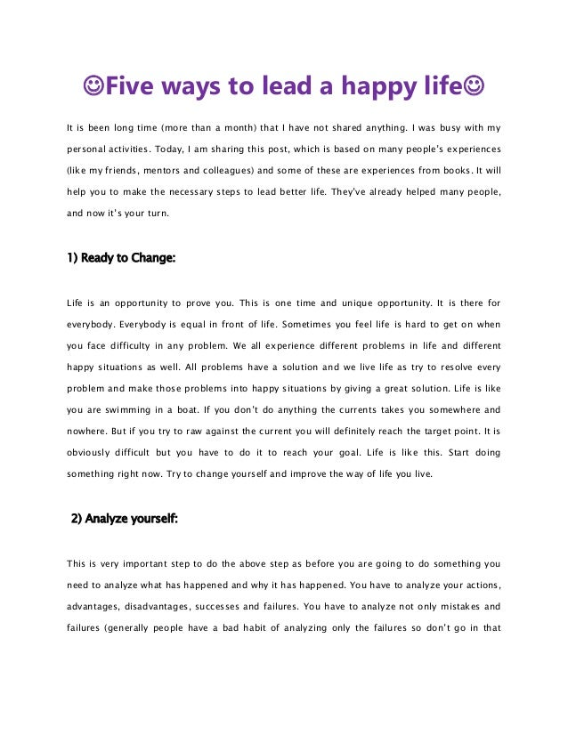 Five ways to lead a happy life