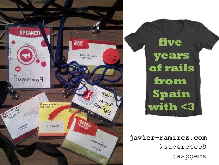 five     years    of rails     from     Spain    with <3javier-ramirez.com       @supercoco9          @aspgems