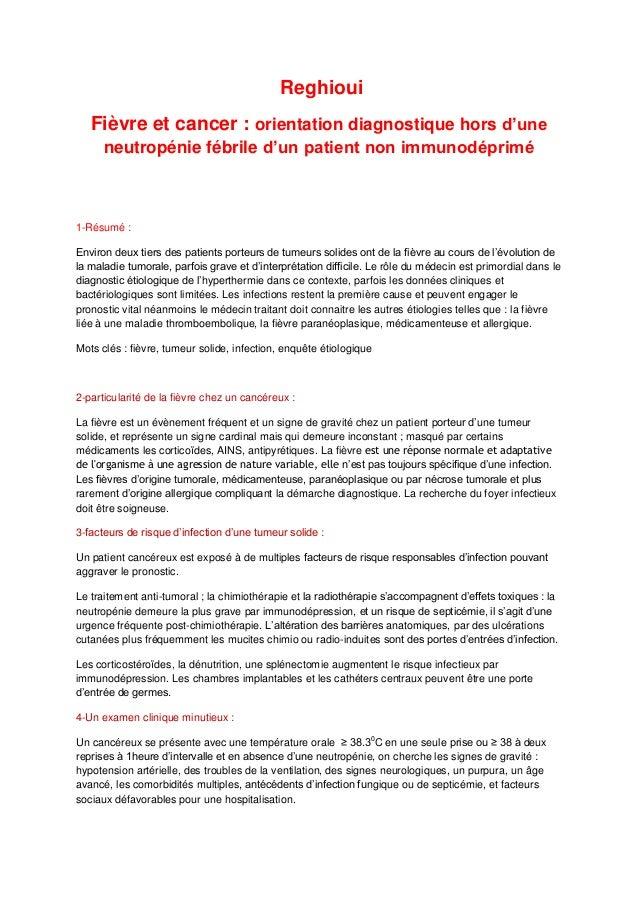Reghioui Fièvre et cancer : orientation diagnostique hors d'une neutropénie fébrile d'un patient non immunodéprimé  1-Résu...