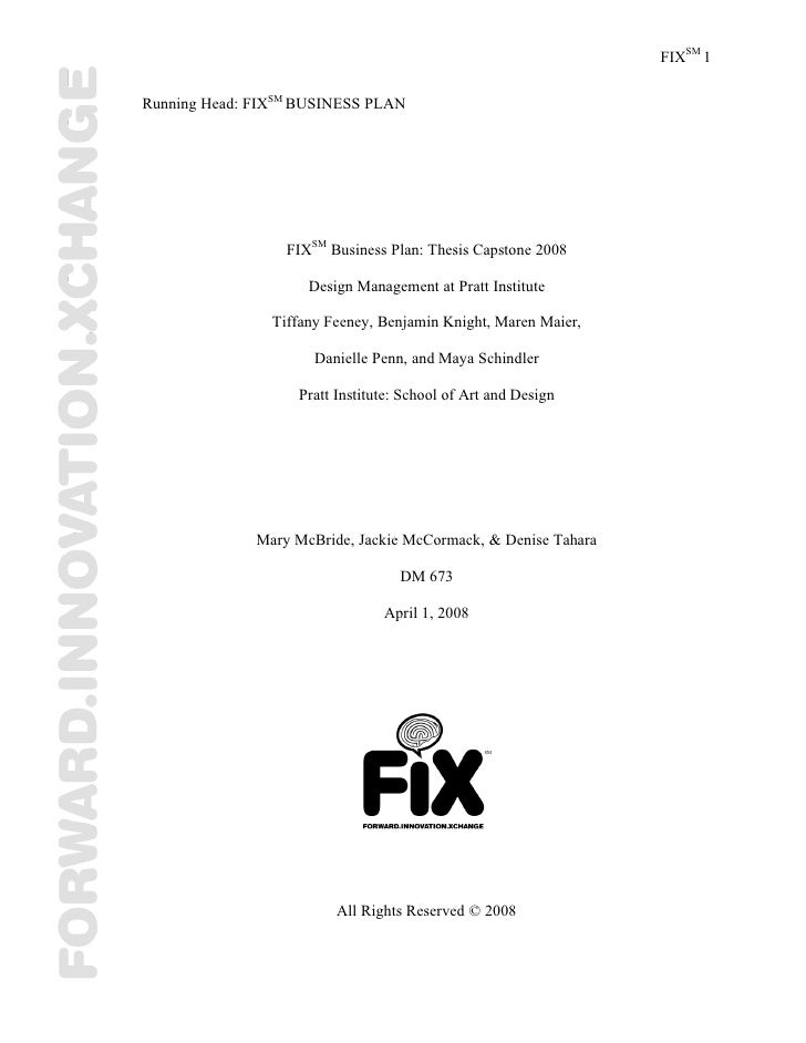 Fix Business Plan :: Graduate Thesis