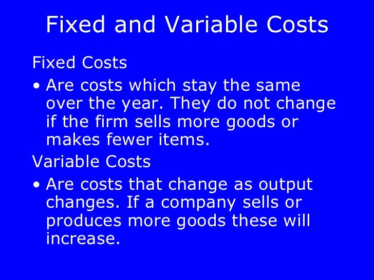 dell variable and fixed costs 1dipartimento di scienze dell'ingegneria civile e dell'architettura del  the total  costs (ct), which are disjointed in the components of the fixed costs (cf) and  variable costs (cv) on total revenues (rt) on the quantity (q) of the.