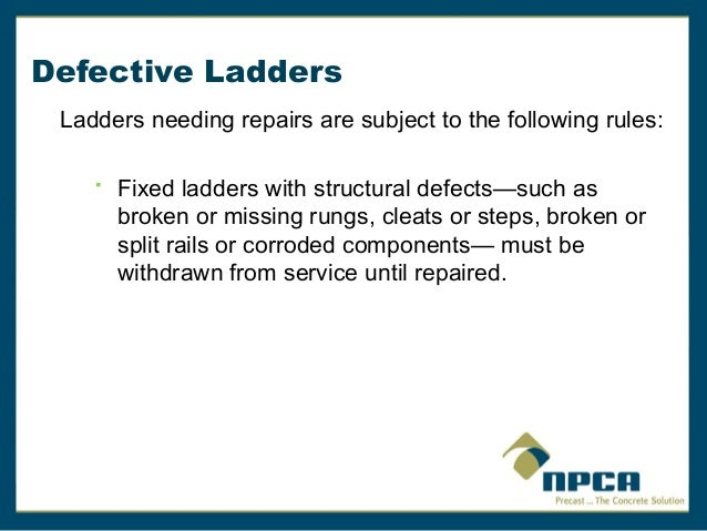 Fixed And Portable Ladders By Npca