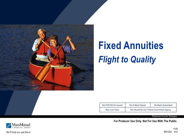 Fixed Annuities Flight to Quality Retirement Income Strategies For Producer Use Only. Not For Use With The Public. 1109 RI...