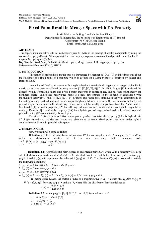 Mathematical Theory and Modeling www.iiste.orgISSN 2224-5804 (Paper) ISSN 2225-0522 (Online)Vol.3, No.6, 2013-Selected fro...