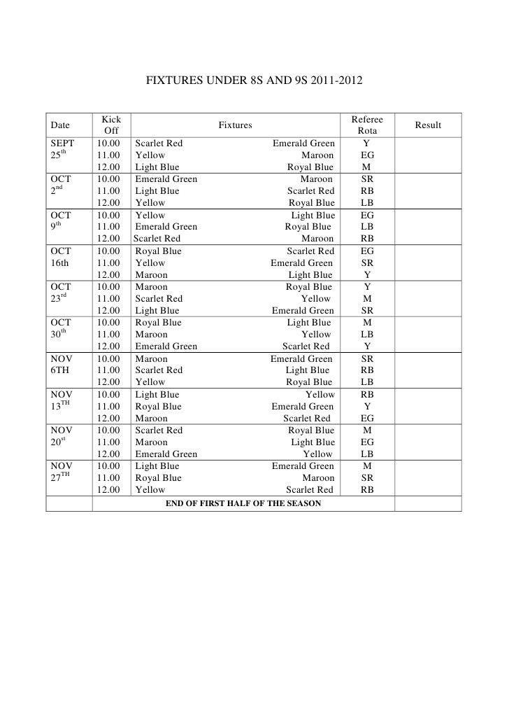 FIXTURES UNDER 8S AND 9S 2011-2012        Kick                                               RefereeDate                  ...
