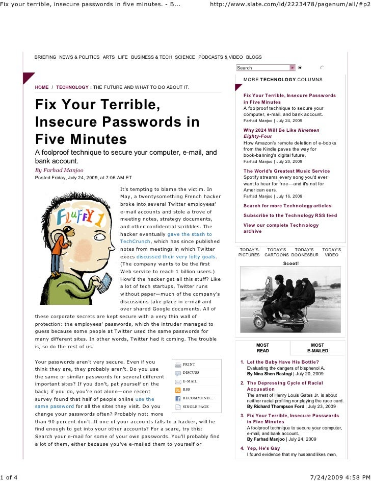 Fix Your Terrible Insecure Passwords