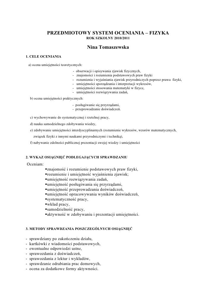 Fizyka system oceniania2010
