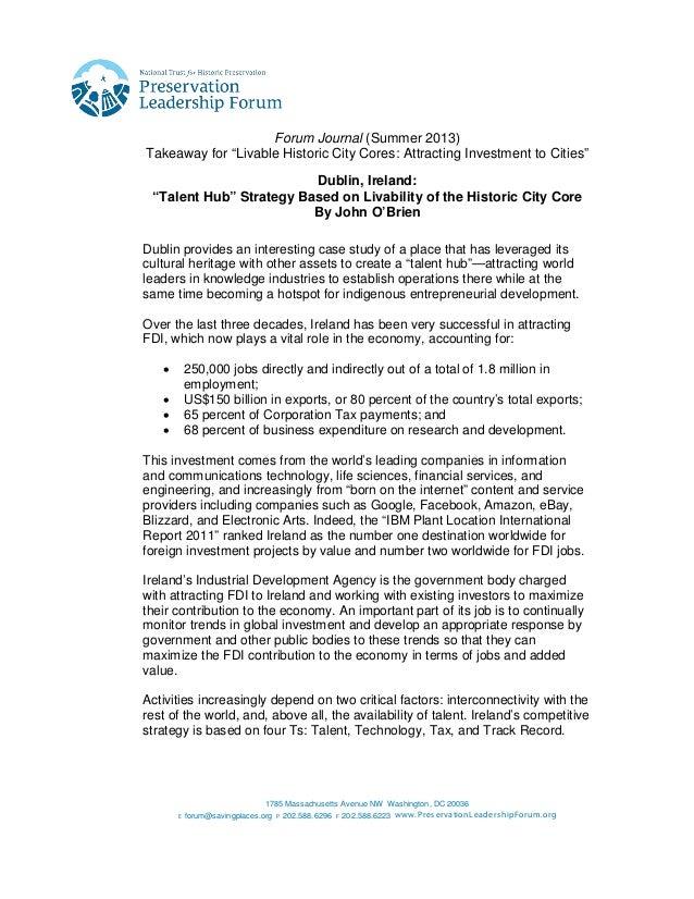 Forum Journal (Summer 2013): Dublin Case Study