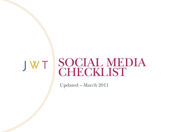 Social Media Checklist (Updated - March 2011)