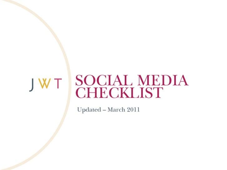 Social Media Checklist (Updated - March 2011)