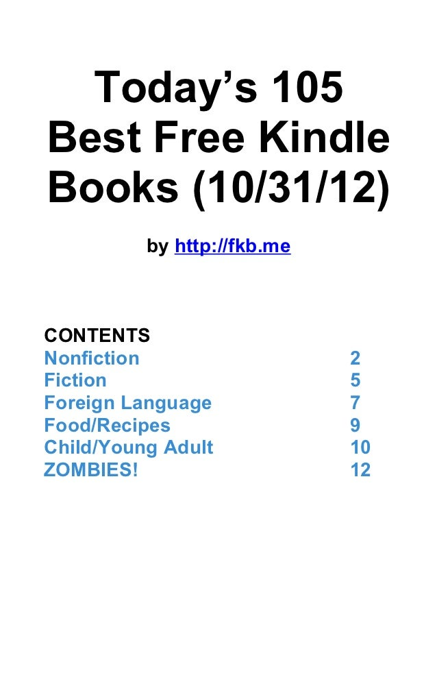 Today's 105 Best Free Kindle Books (October 31, 2012)