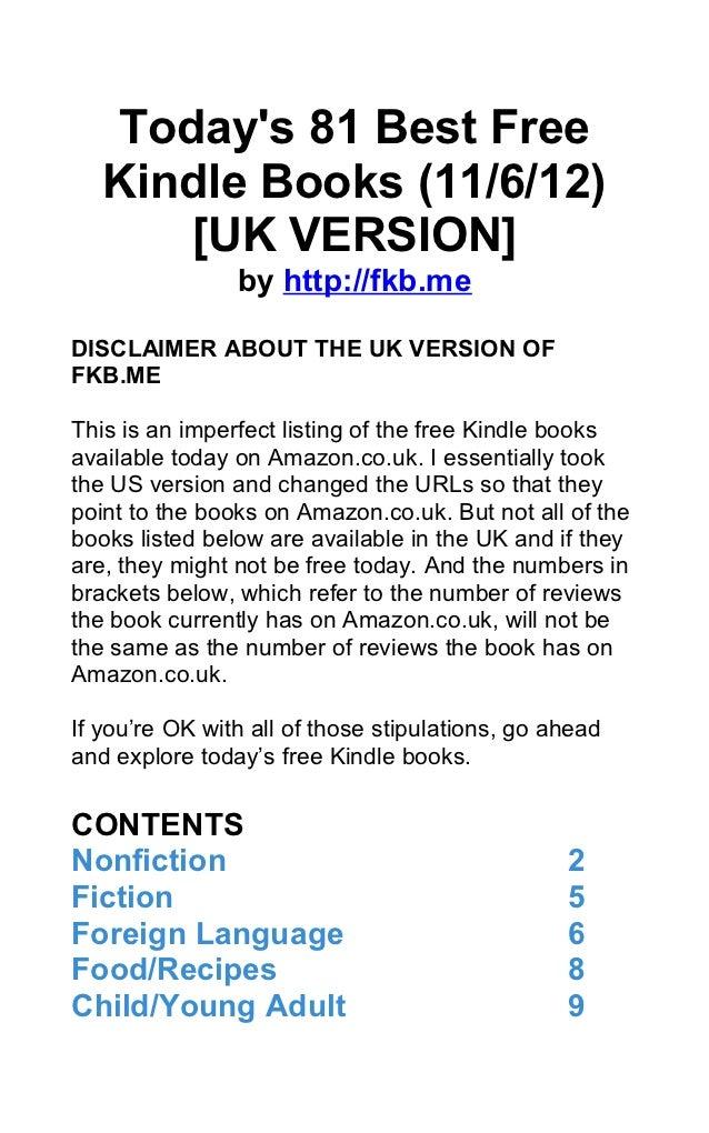 Today's 81 Best Free Kindle Books (November 6, 2012) [UK VERSION]