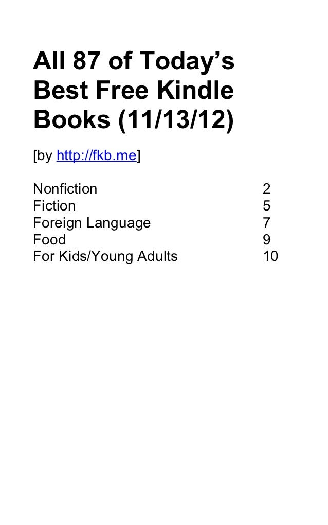 Today's 87 Best Free Kindle Books (November 13, 2012)