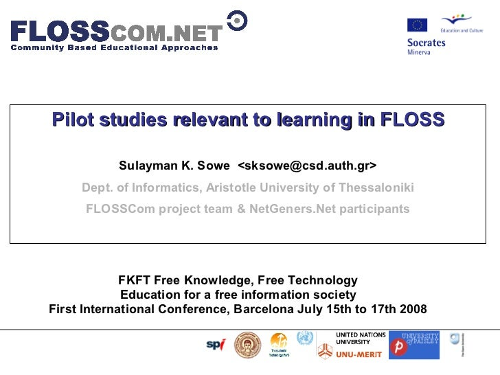 Pilot studies relevant to learning in FLOSS