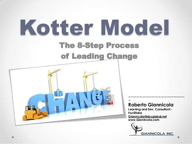 Kotter Model The 8-Step Process of Leading Change Roberto Giannicola Learning and Dev. Consultant - Facilitator Giannicola...
