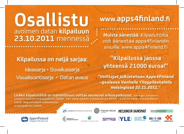 Osallistuavoimen datan kilpailuun                                                                  www.apps4finland.fi    ...
