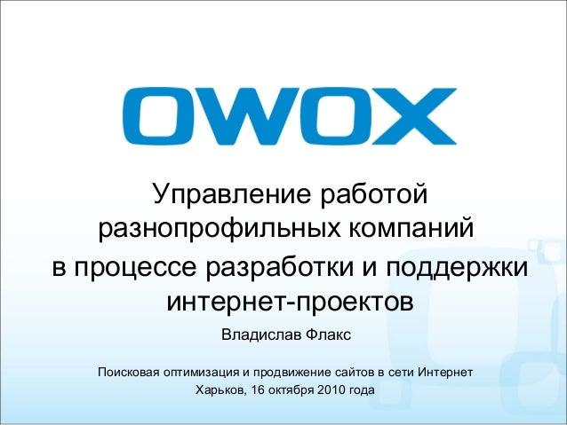 Управление работой разнопрофильных компаний в процессе разработки и поддержки интернет-проектов Поисковая оптимизация и ...